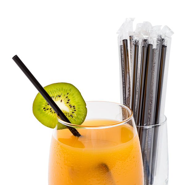 "7.75"" Jumbo Black Poly Wrapped Straws with Beverage"