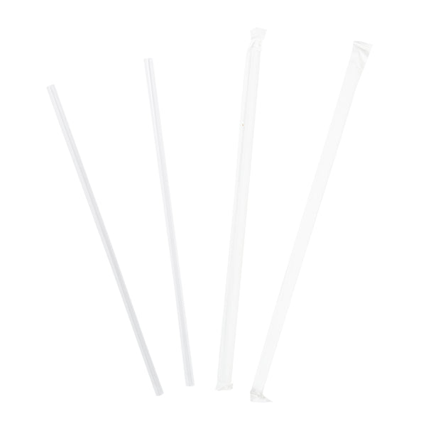 "9"" Jumbo Clear Paper Wrapped Straws"