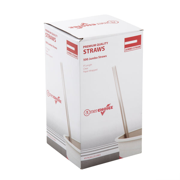 "9"" Jumbo Clear Paper Wrapped Straws, Box of 500"