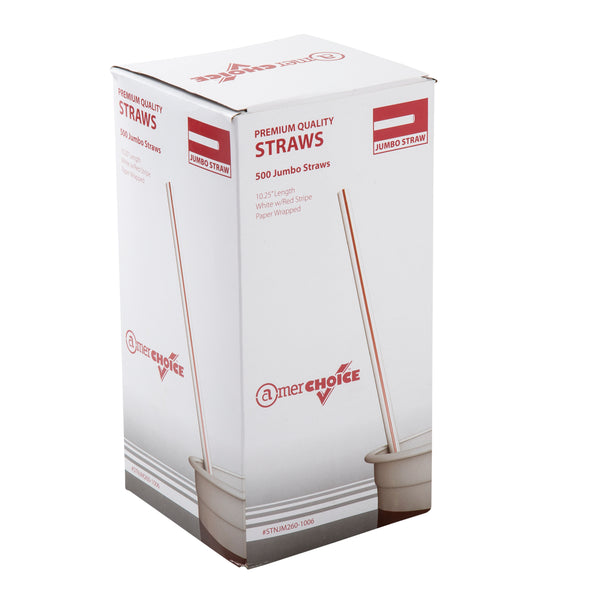 "10.25"" Jumbo White with Red Stripes Paper Wrapped Straws, Box of 500"