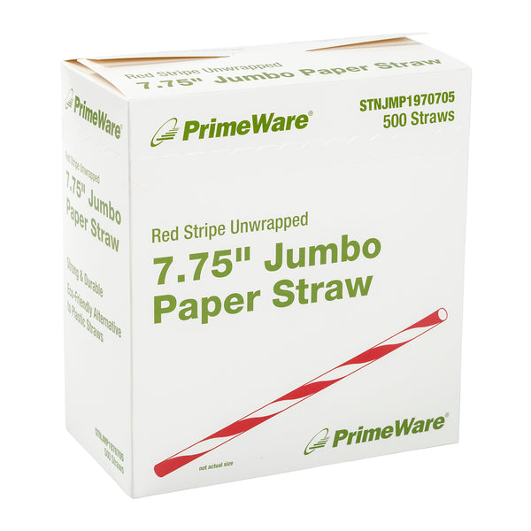 "7.75"" Jumbo Unwrapped Red Stripe Paper Straws, Box of  500"