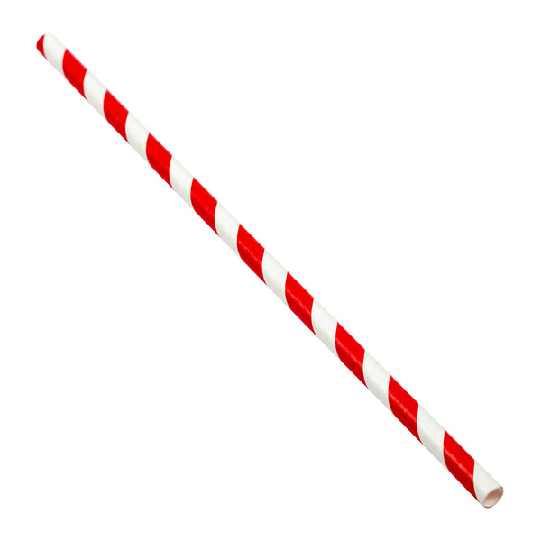 "7.75"" Jumbo Unwrapped Red Stripe Paper Straw"