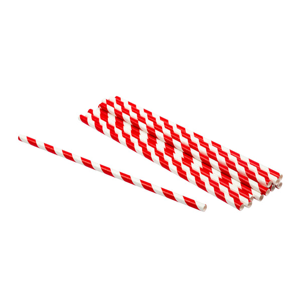 "7.75"" Jumbo Unwrapped Red Stripe Paper Straws"