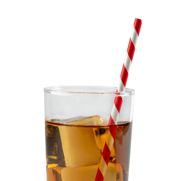 "7.75"" Jumbo Unwrapped Red Stripe Paper Straw in Drink"