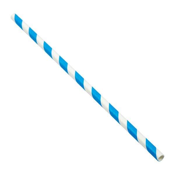 "7.75"" Jumbo Unwrapped Blue Stripe Paper Straw"