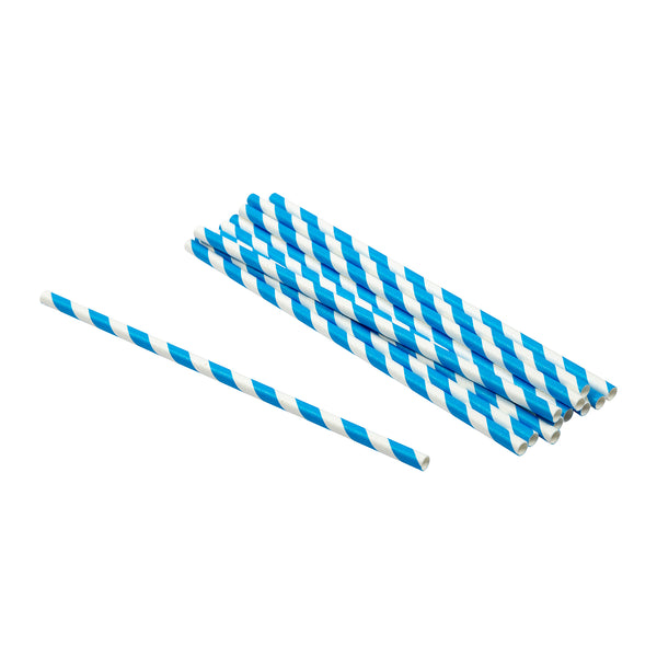 "7.75"" Jumbo Unwrapped Blue Stripe Paper Straws"