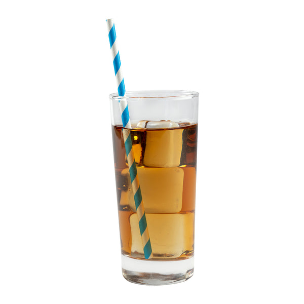 "7.75"" Jumbo Unwrapped Blue Stripe Paper Straw in Drink"