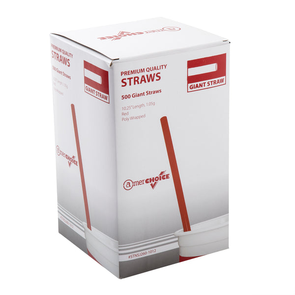 "10.25"" Giant Red Poly Wrapped Straws"