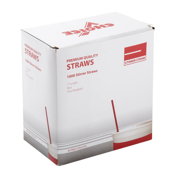 "7"" Red Poly Wrapped Stirrers"