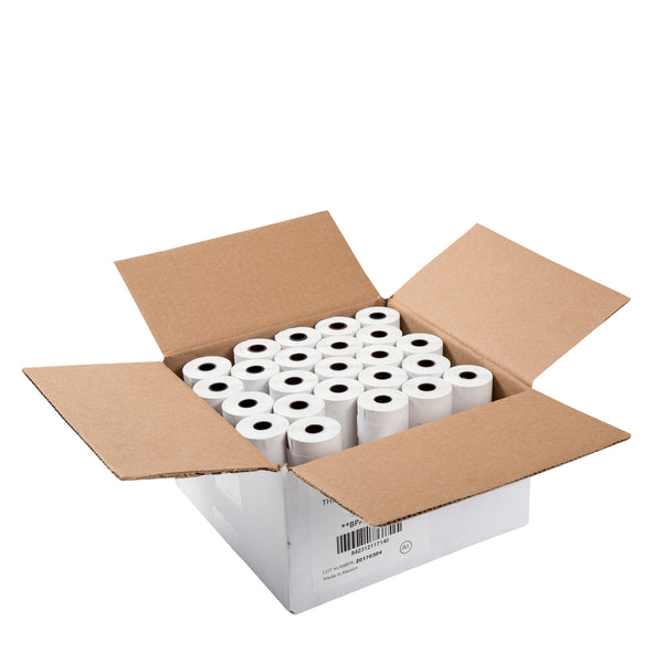 2.25 x 74' White 11mm ID Solid Core Thermal Rolls, Case of 50