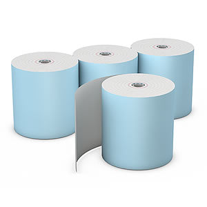 "3-1/8"" x 230' Blue 7/16"" ID Core Thermal Rolls, Case of 50"