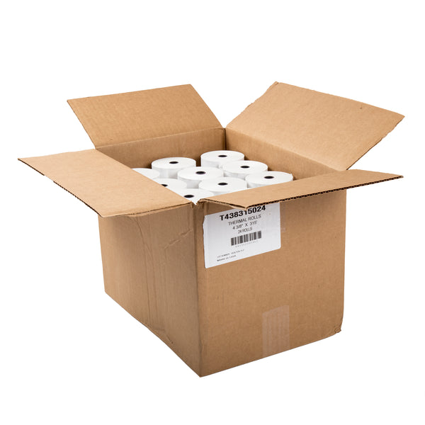 "4-3/8"" x 315' White 1/2"" ID Core Thermal Rolls, Case of 24"