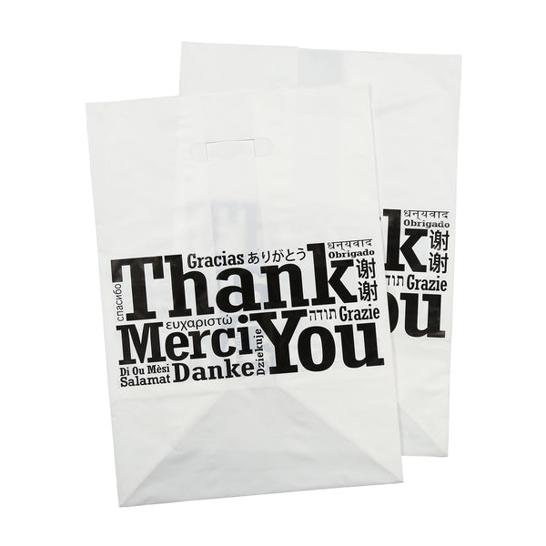 "12"" x 10"" x 17"" Die Cut Handled Multilingual Shopping Bags"