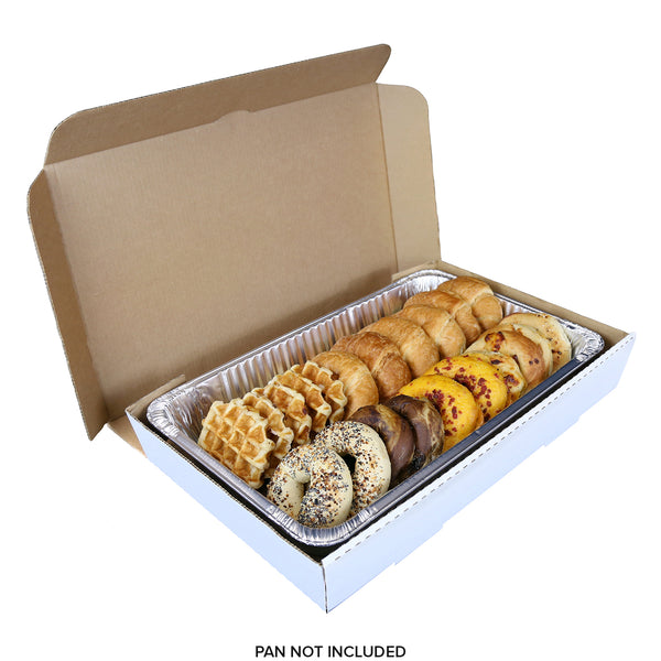 "Full Pan White 21"" x 13"" x 3"" Corrugated Catering Box with Bagels"