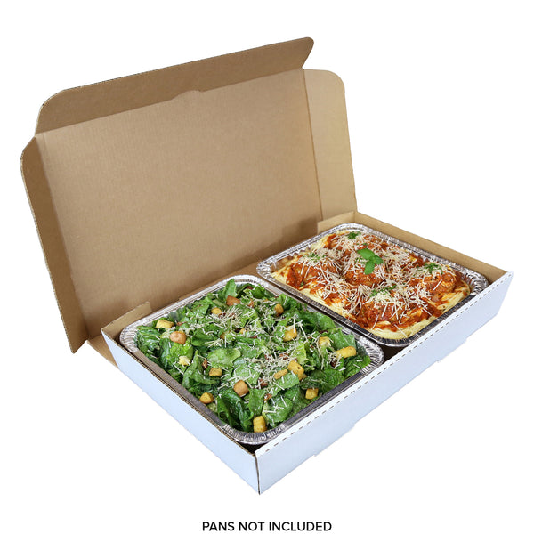 "Full Pan White 21"" x 13"" x 3"" Corrugated Catering Box with 2 Half Pans"