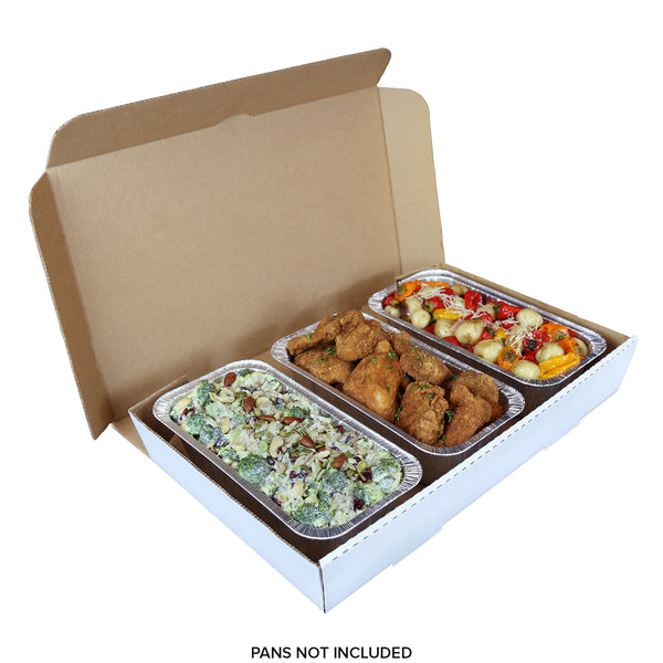 "Full Pan White 21"" x 13"" x 3"" Corrugated Catering Box with 3 Pans"
