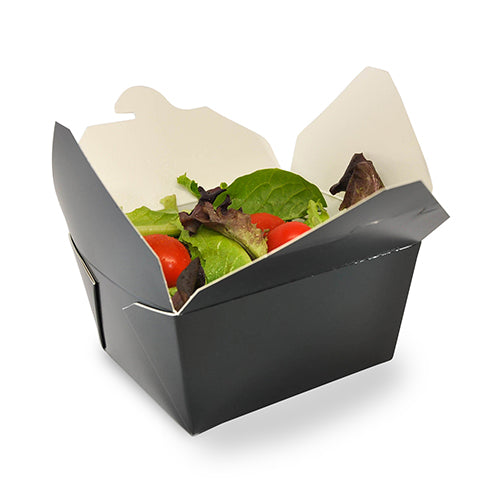 "4-3/8"" x 3.5"" x 2.5"" #1 Black Folded Takeout Box with Salad"