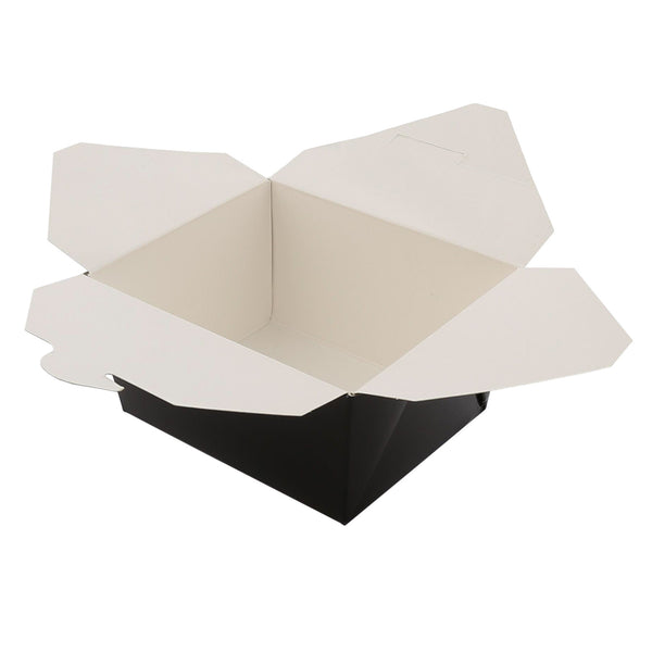 "4-3/8"" x 3.5"" x 2.5"" #1 Black Folded Takeout Box"