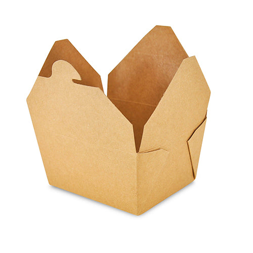"Open 4-3/8"" x 3.5"" x 2.5"" #1 Kraft Folded Takeout Box"