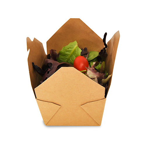 "4-3/8"" x 3.5"" x 2.5"" #1 Kraft Folded Takeout Box with Salad"