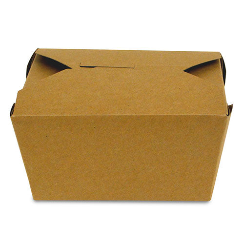 "4-3/8"" x 3.5"" x 2.5"" #1 Kraft Folded Takeout Box"