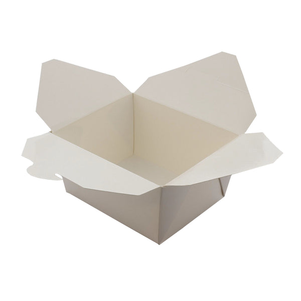 "Open 4-3/8"" x 3.5"" x 2.5"" #1 White Folded Takeout Box"