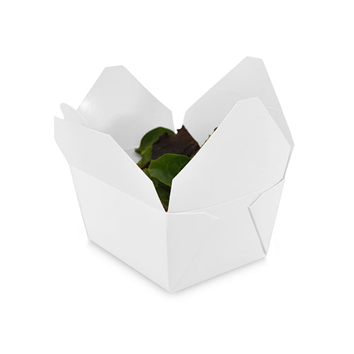 "4-3/8"" x 3.5"" x 2.5"" #1 White Folded Takeout Box with Salad"