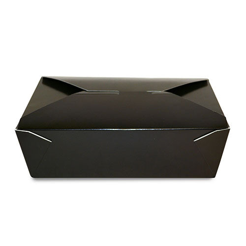 "FTB2BK - #2 Black 7-3/4"" x 5.5"" x 1-7/8"" Folded Takeout Boxes Sample, for Customer Service Use Only"