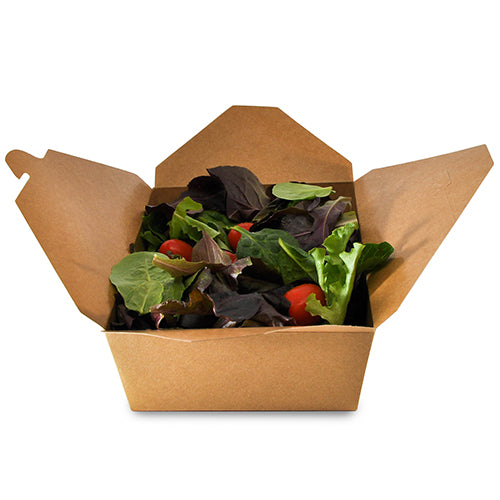 "7-3/4"" x 5.5"" x 2.5"" #3 Kraft Folded Takeout Box with Salad"