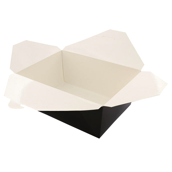 "Open 7-3/4"" x 5.5"" x 3.5"" #4 Black Folded Takeout Box"
