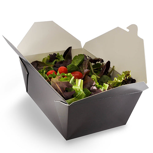 "7-3/4"" x 5.5"" x 3.5"" #4 Black Folded Takeout Box with Salad"