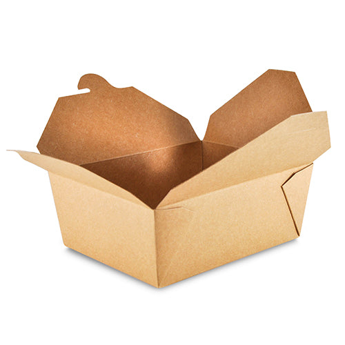 "Open 6"" x 4-3/4"" x 2.5"" #8 Kraft Folded Takeout Box"