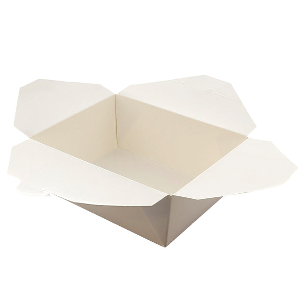 "Open 6"" x 4-3/4"" x 2.5"" #8 White Folded Takeout Box"