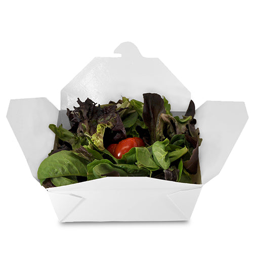 "6"" x 4-3/4"" x 2.5"" #8 White Folded Takeout Box with Salad"