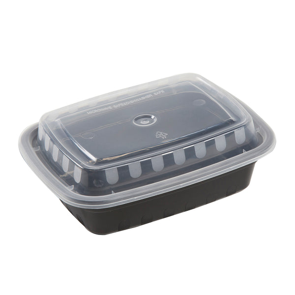 12oz Rectangular Black with Clear Top To-Go Container and Lid Combo