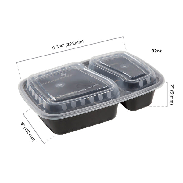 2 Compartment Black 32oz Rectangular Container - Dimensions