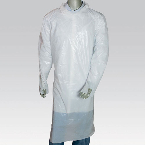 "47"" x 37"" White Polyethylene Isolation Gown with Thumb Loops"