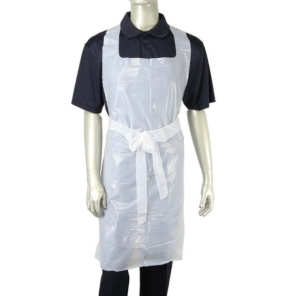 "28"" x 46"" 1.5 Mil Poly Apron with Ties"