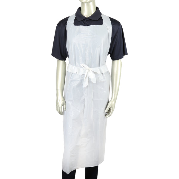 "DAK2855 - 28"" x 55"" White Lightweight 1 Mil Poly Aprons Sample, for Customer Service Use Only"