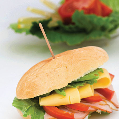 "3.5"" Wood Sandwich Pick Inserted in Burger"