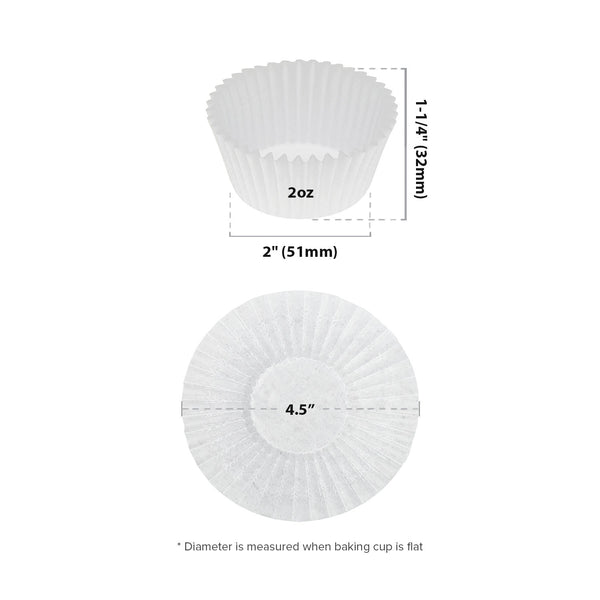 "4.5"" White Baking Cup Sizing Chart"