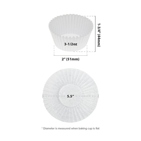 "5.5"" White Baking Cup Sizing Chart"