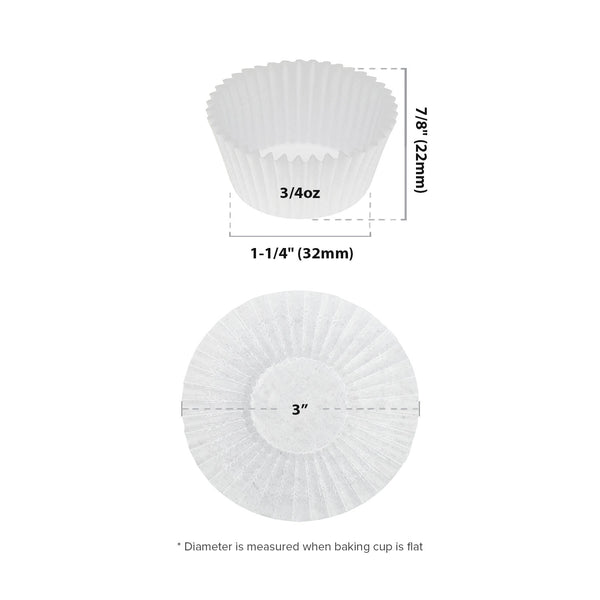 "3"" White Baking Cup Sizing Chart"