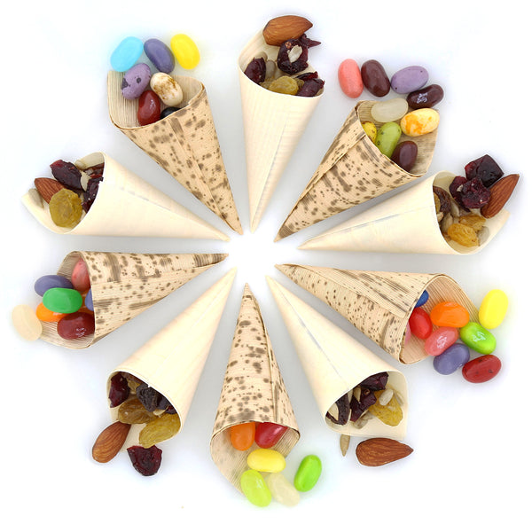 "1.5"" W x 2.25"" H Bamboo Tasting Cones with Candy"