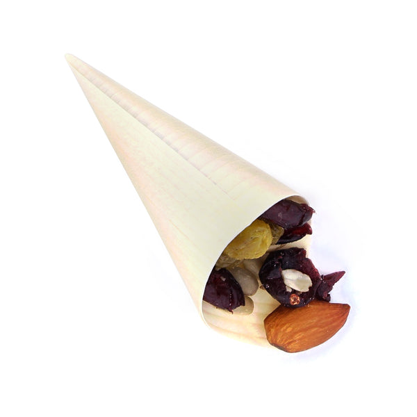 "1.5"" W x 2.5"" H Wooden Tasting Cone with Trail Mix"