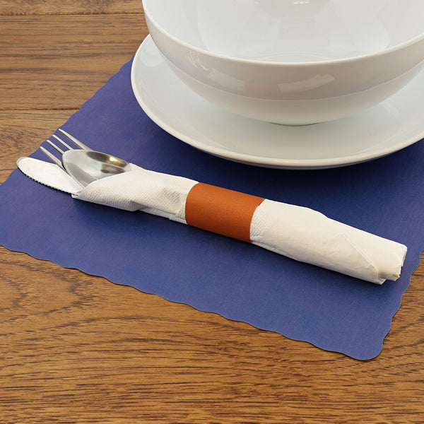 Rust Paper Napkin Band with Napkin and Silverware