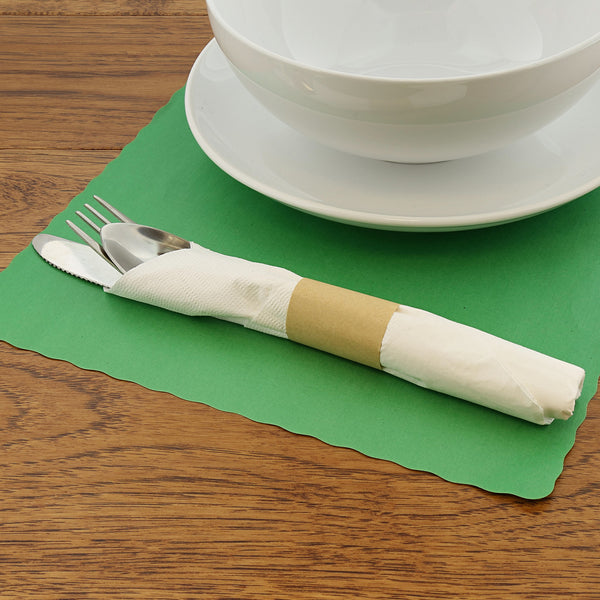 "Green Placemat 9.25"" x 13.25"" with Place Setting"