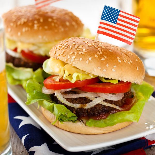 American Flag Pick Inserted in Burger