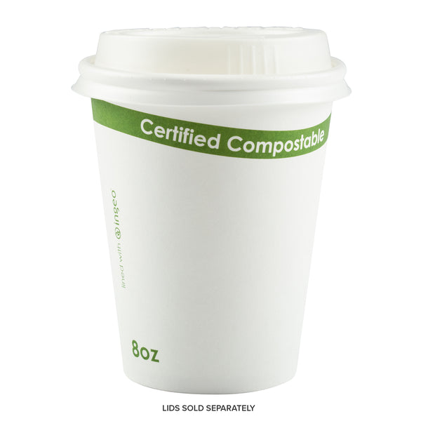 8 oz. White Compostable Cup PLA Lined - Lid Sold Separately