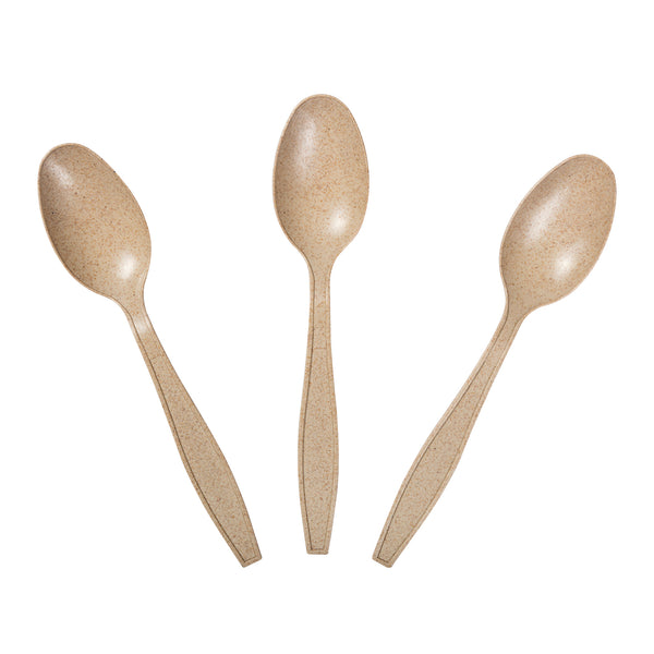 "6"" Heavy Weight Disposable Wheat Teaspoons"